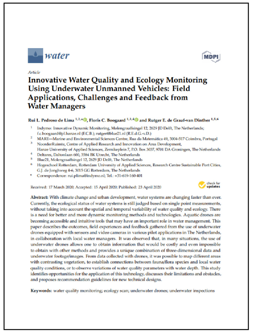 Innovative Water Quality and Ecology Monitoring Using Underwater Unmanned Vehicles: Feild Applications, Challenges & Feedback from Water Managers