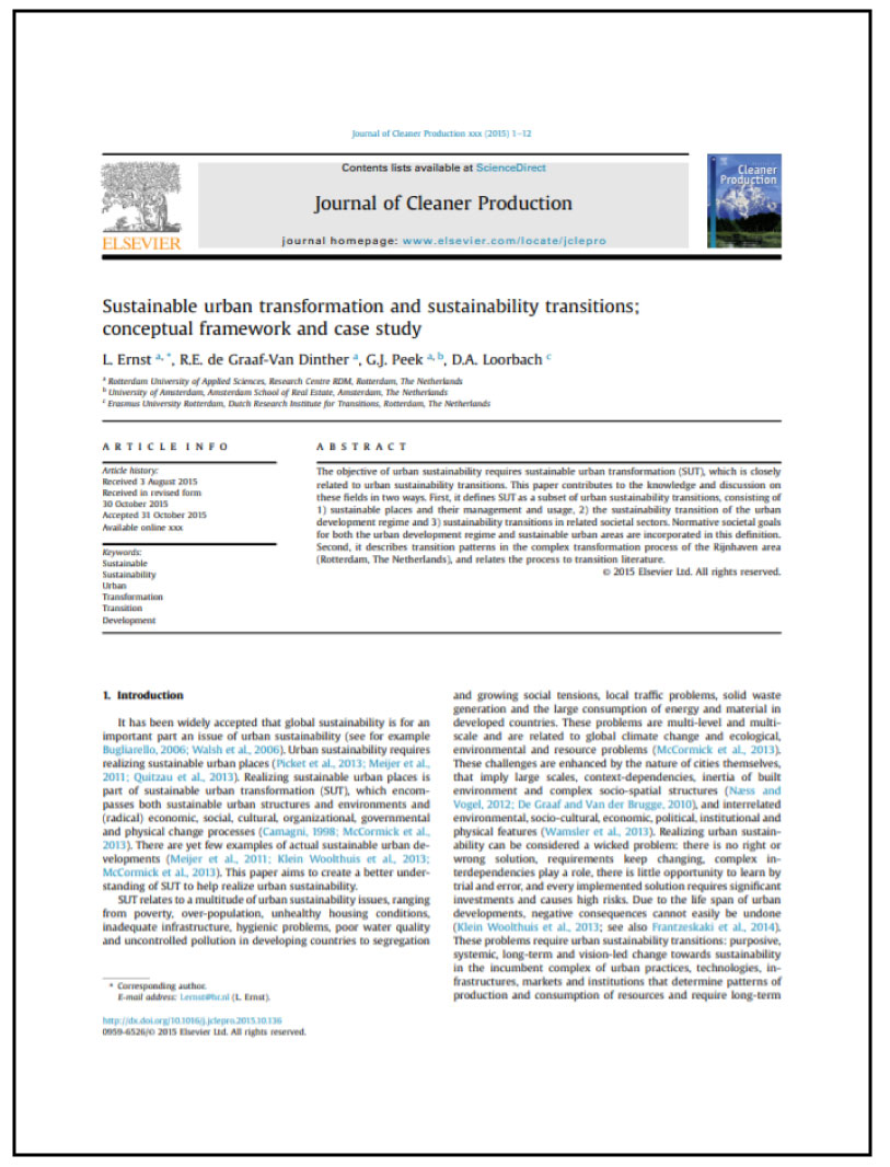 Sustainable Urban Transformations & Sustainability Transitions; Conceptual Framework & Casestudy
