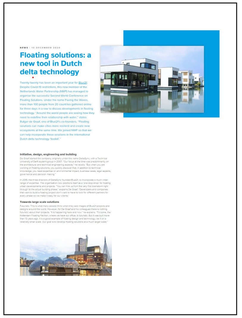 Floating Solutions: A new tool in Dutch Delta Technology